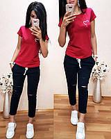 Женская футболка на лето, легкая футболка для девочек S/M/L/XL (малиновый), фото 1
