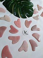 Скребок Гуа Ша косметологический из натурального розового кварца