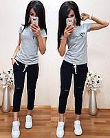 Женская футболка на лето, легкая футболка для девочек S/M/L/XL (светло-серый)