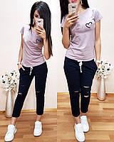 Женская футболка на лето, легкая футболка для девочек S/M/L/XL (сиреневый)
