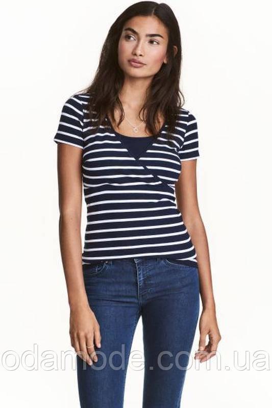 Женская футболка H&M в полоску