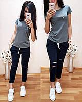 Женская футболка на лето, легкая футболка для девочек S/M/L/XL (серый), фото 1