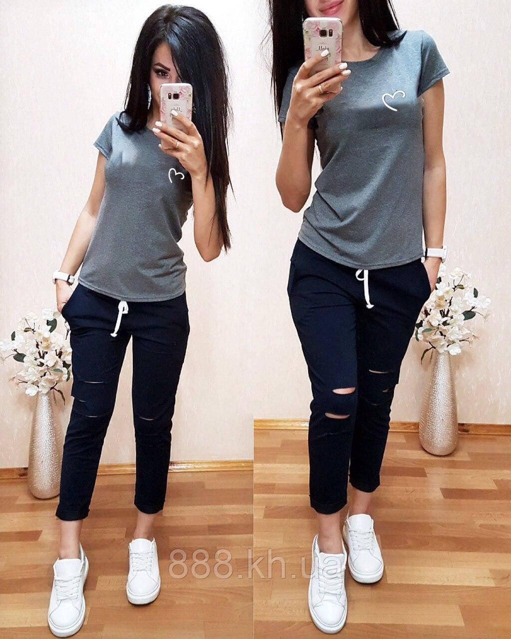 Женская футболка на лето, легкая футболка для девочек S/M/L/XL (серый)