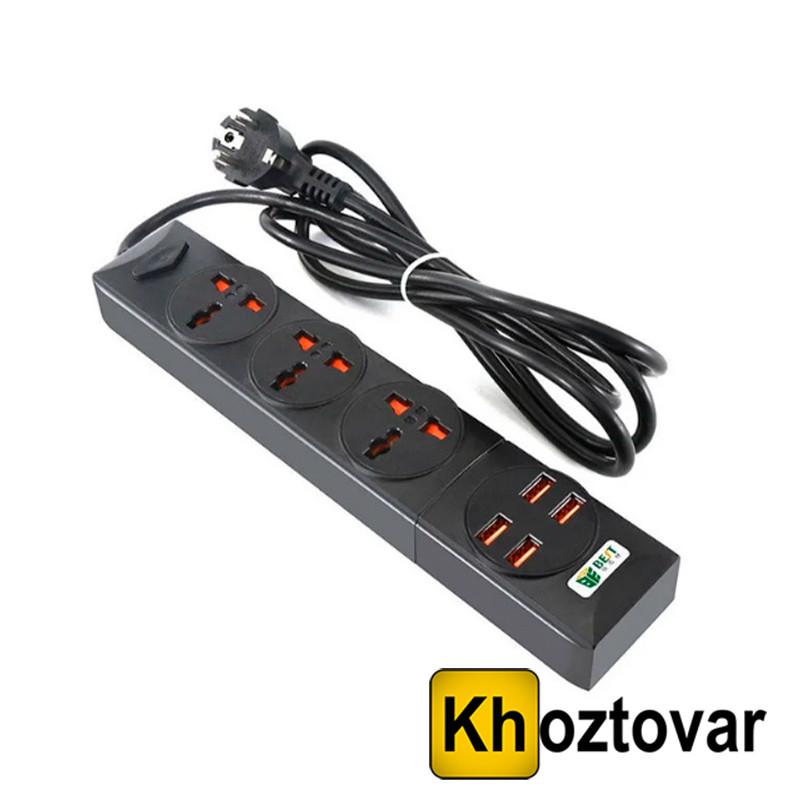 Универсальный сетевой фильтр Remax Power Socket Anti Static BCL 01 | 3 розетки питания и 4 USB порта