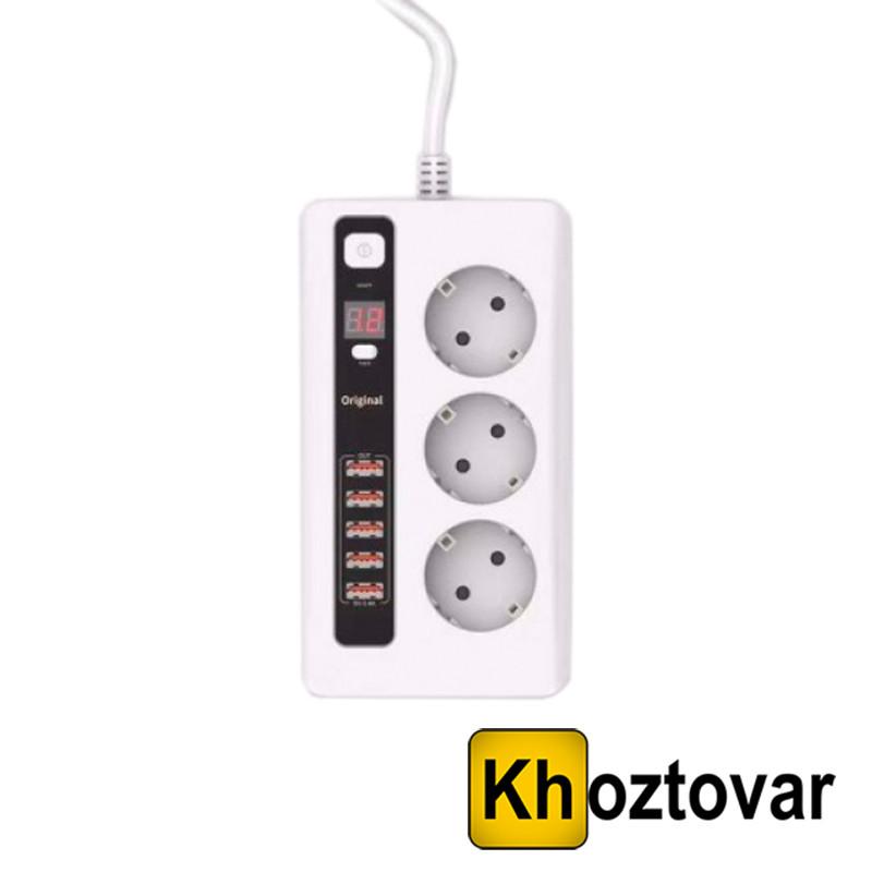 Универсальный сетевой фильтр Remax Power Socket Anti Static BCL 04   3 розетки питания и 5 USB порта