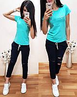 Женская футболка на лето, легкая футболка для девочек S/M/L/XL бирюза, фото 1
