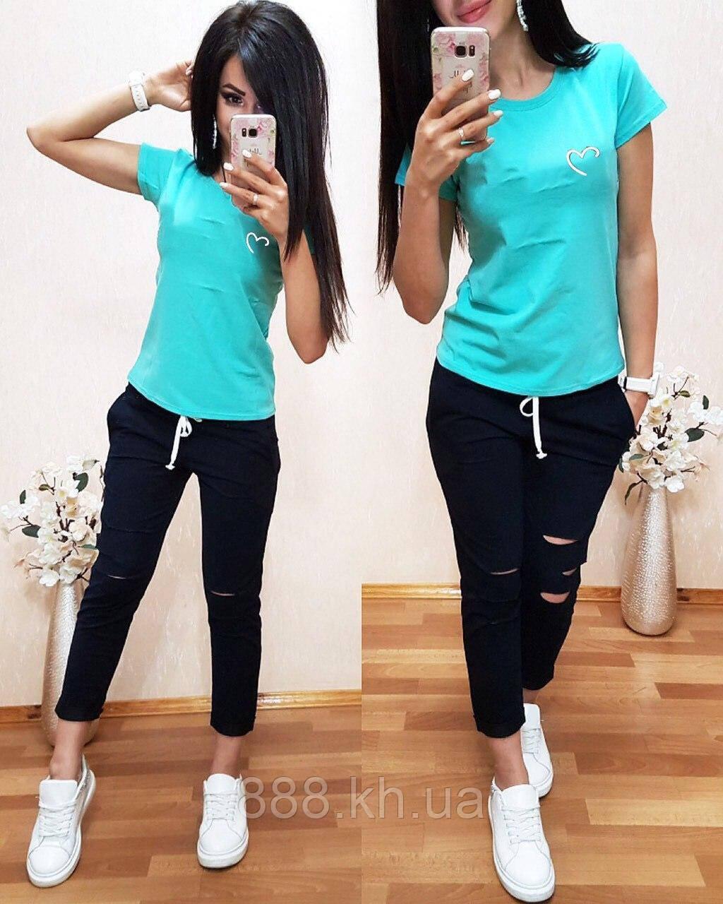 Женская футболка на лето, легкая футболка для девочек S/M/L/XL бирюза