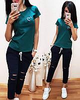 Женская футболка на лето, легкая футболка для девочек S/M/L/XL (зеленый), фото 1