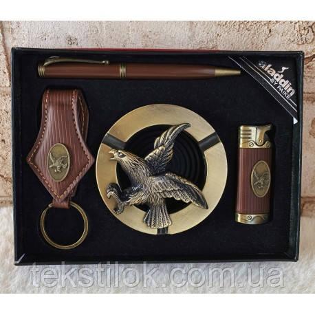 Мужской подарочный набор  пепельница+зажигалка+брелок