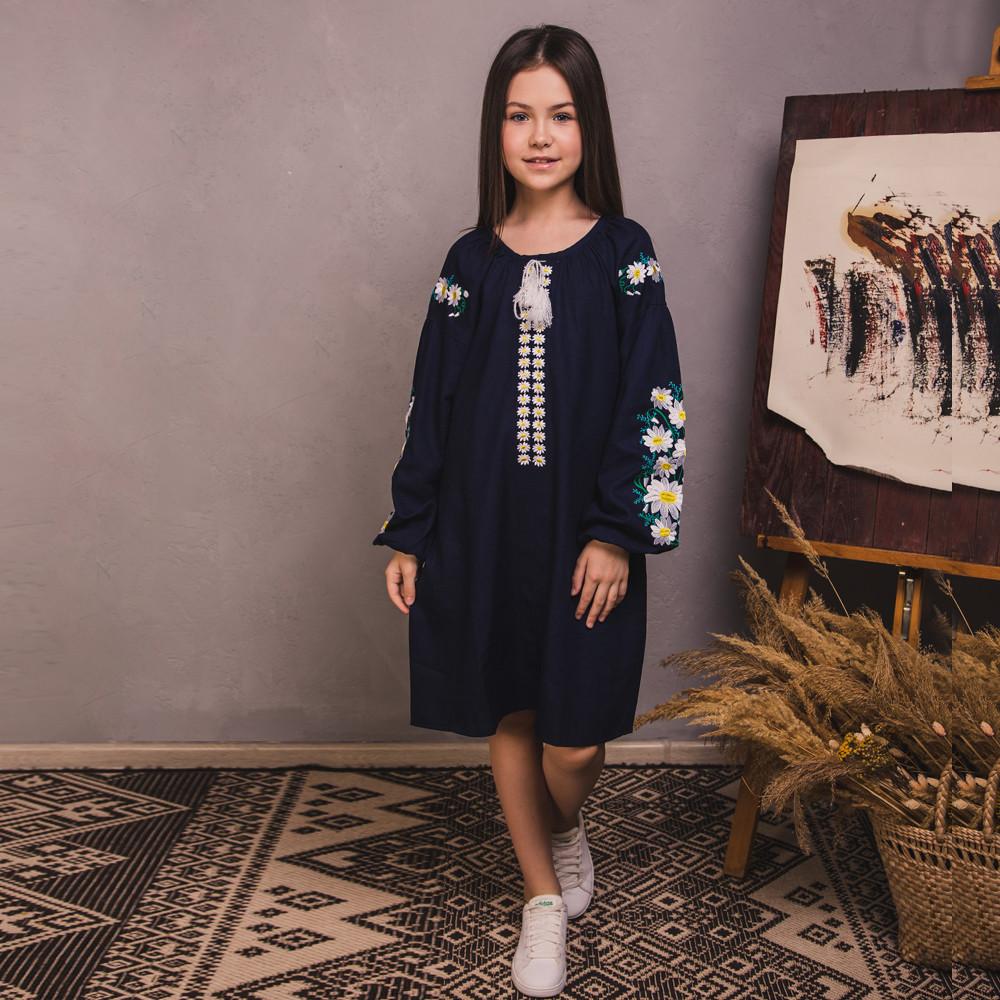 Вишита сукня Moderika Квіткова на синьому льоні