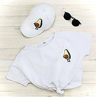 Футболка женская + кепка белая с принтом Авокадо Avocado