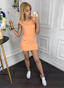 Летнее короткое платье мини по фигуре персиковое
