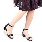Босоножки женские кожаные 36-40 Woman's heel черные устойчивые на широком каблуке, фото 4