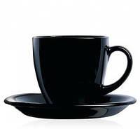 """Сервіз чайний скло 12предм. (6чаш. 220мл+6бл.) """"Luminarc Carine Black"""" №3813/P4672(6)"""