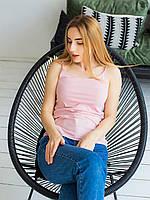 Базовая майка светло-розовая хлопковая женская майка 42,44,46