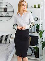 Деловая классическая женская белая блуза с кружевными рукавами размеры 42,44,46