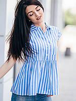 Полосатая молодежная женская блуза-рубашка с баской в голубую полоску размеры 44,46