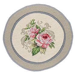 Салфетка под тарелку на стол гобеленовая круглая  20 см