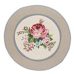 Салфетка под тарелку на стол гобеленовая круглая d 30 см