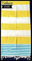 Турецкое покрывало-полотенце пляжное на море и пикник 180х100 в полоску желтое с голубым   Турция