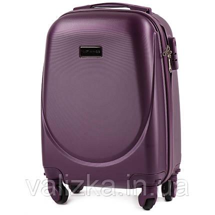Пластиковый чемодан для ручной клади фиолетовый с фурнитурой в цвет, фото 2