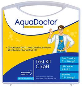 Таблеточный тестер AquaDoctor Test Kit Cl/pH/Br (20 тестов)