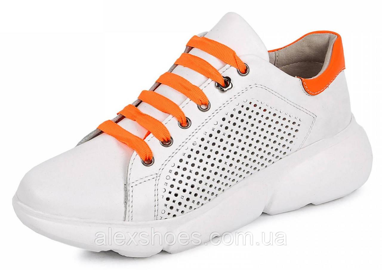 Кросівки молодіжні з натуральної шкіри з перфорацією від виробника модель МАК1844