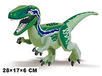 Динозавр большой зеленый Раптор Raptor. Длина 28 см. Конструктор аналог Лего