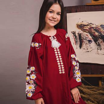 Вишита сукня Moderika Квіткова на бордовому льоні