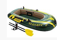 Надувная лодка 2х двухместная  SeaHawk 2 Intex 68347 с веслами и насосом интекс, фото 1