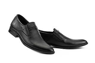 Мужские туфли кожаные весна/осень черные Slat 19444 без шнурков