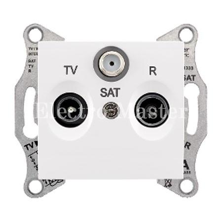 Розетка TV/R/SAT прохідна біла Sedna