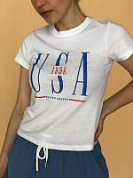 Белая короткая футболка топ USA хлопковая