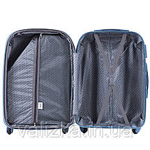 Пластиковый чемодан для ручной клади голубой с фурнитурой в цвет, фото 3