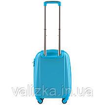 Пластиковый чемодан для ручной клади голубой с фурнитурой в цвет, фото 2