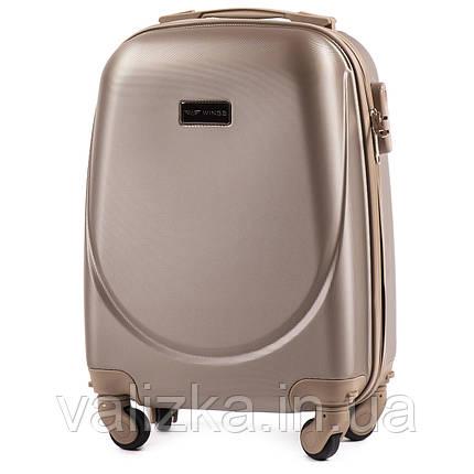 Пластиковый чемодан для ручной клади шампань с фурнитурой в цвет, фото 2