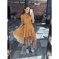 Женское летнее платье в горошек оранжевое, фото 1