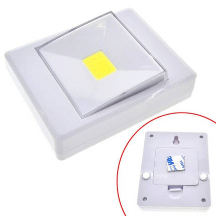 LED светильник лампа выключатель на батарейках 3Вт на магните, липучке, фото 2