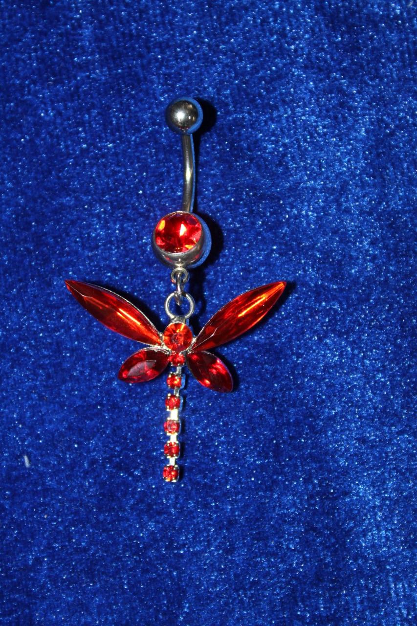 Красивая серебристая сережка для пирсинга пупка с красными камнями медицинская сталь 50 мм 1 шт
