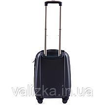 Пластиковый чемодан для ручной клади темно-синий с фурнитурой в цвет, фото 2