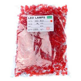 1000x LED светодиод 3мм 1.8-2В 20мА, красный