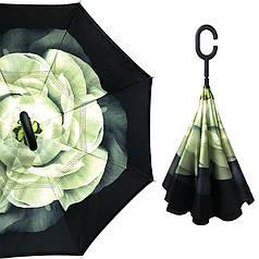 Зонт зворотного складання Up-Brella Біла Гарденія антизонт розкладний великий зонт-навпаки
