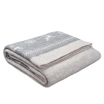 Плед вязаный Ohaina Scandinavian 210х140 Linen Beige + Silver Grey