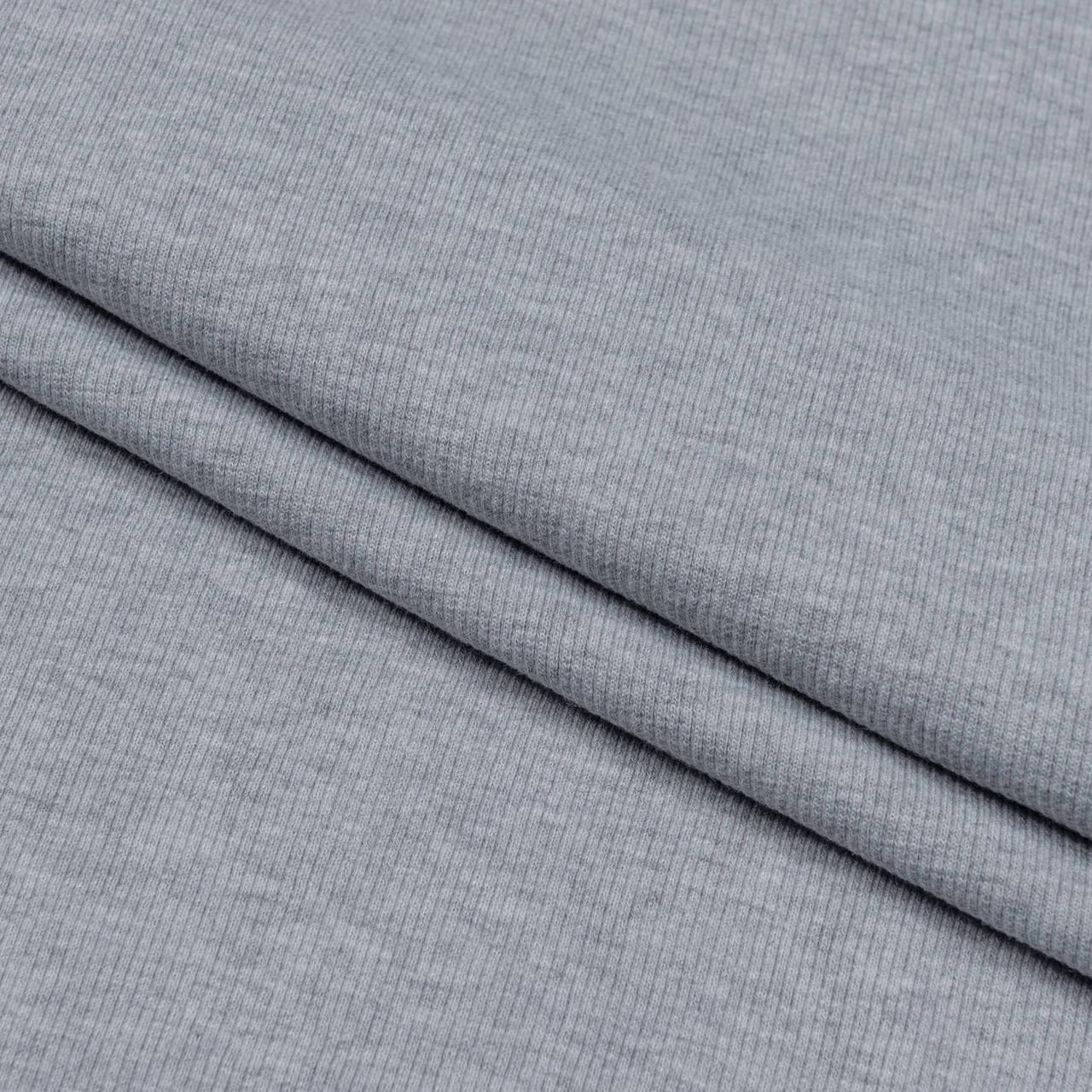 Трикотаж Рибана однотонная, серый меланж, качество пенье. Купить оптом рибану в Украине