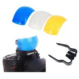 3-цвет рассеиватель встроенных вспышек зерк. камер