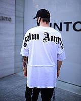 Футболка Palm Angels Oversize x white мужская   Мужская футболка свободного кроя Палм Ангелс ЛЮКС качества