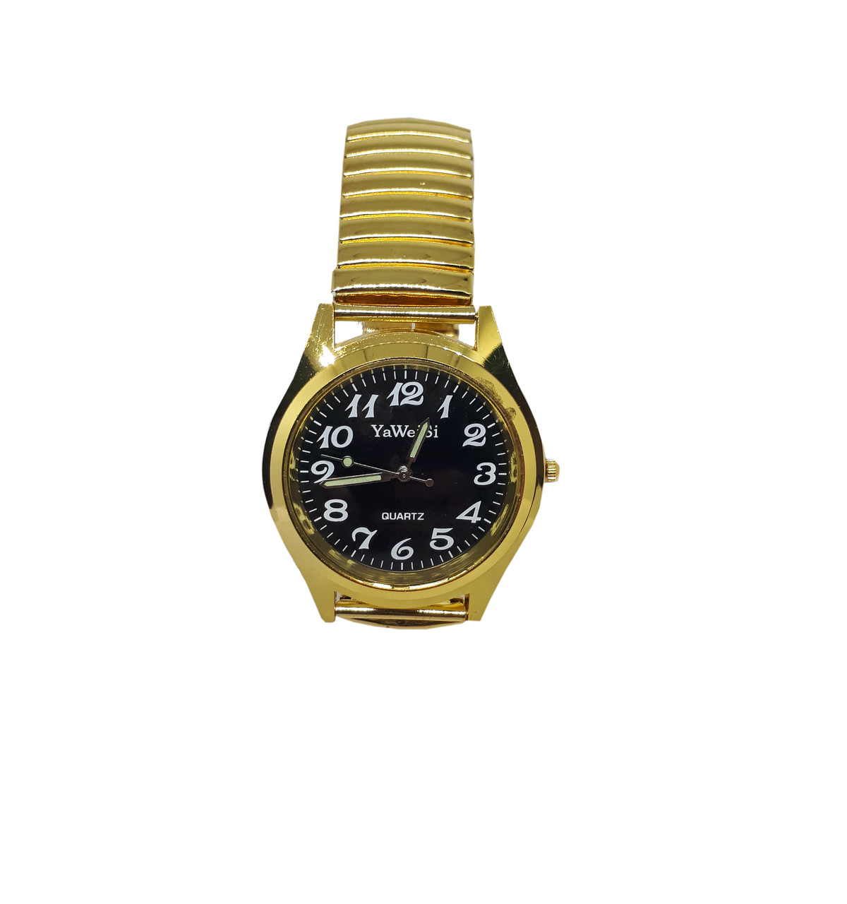Часы мужские кварцевые YaWeiSi  на  браслете резинка под золото черный опт