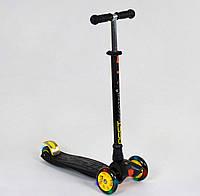 Самокат Best Scooter Maxi черный с желтыми со светящимися колесами, фото 1