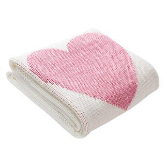 Плед вязаный Ohaina Heart 140x100 White + Pink