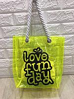 Наплечная сумка шоппер прозрачная с надписью, (в комплекте косметичка), пляжная сумка р. 39х34